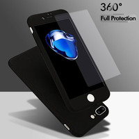 Original Phone case for iphone 7 Ultra Thin Cute colors cell phone case with tempered glass luxury 360 degree full body