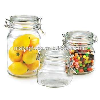 Square Glass Storage Jar With Clamp Lid,glass Food Container,glass Jar With  Locking