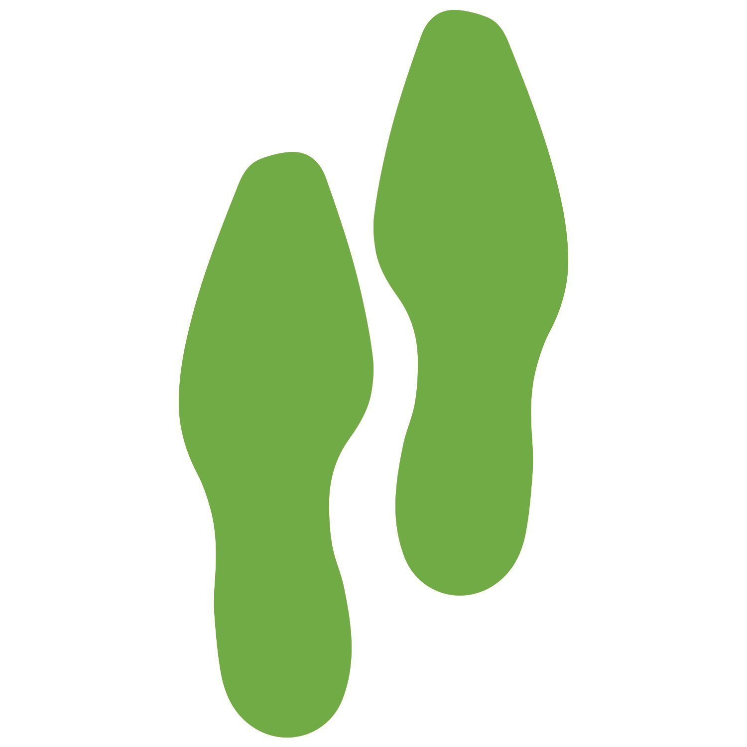 LiteMark 9 Inch Lime Dress Shoe Print Decal Stickers for Floors and Walls - Pack of 12 (6 Pairs)