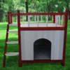 Small Size Fir Wood dog house Stairs puppy Wood Room Staircase Balcony pet Country Lodge dog kennel white