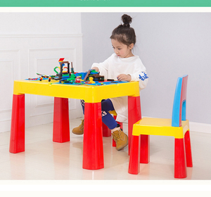 2018 Amazon hot Sale Children's Building Blocks Compatible with Lego Assembled Toy Table Nursery Table and Chair Set
