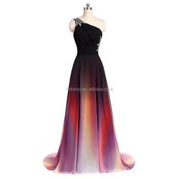 Wholesale Alibaba One Shoulder Gradient Beaded Prom Dresses Long ...