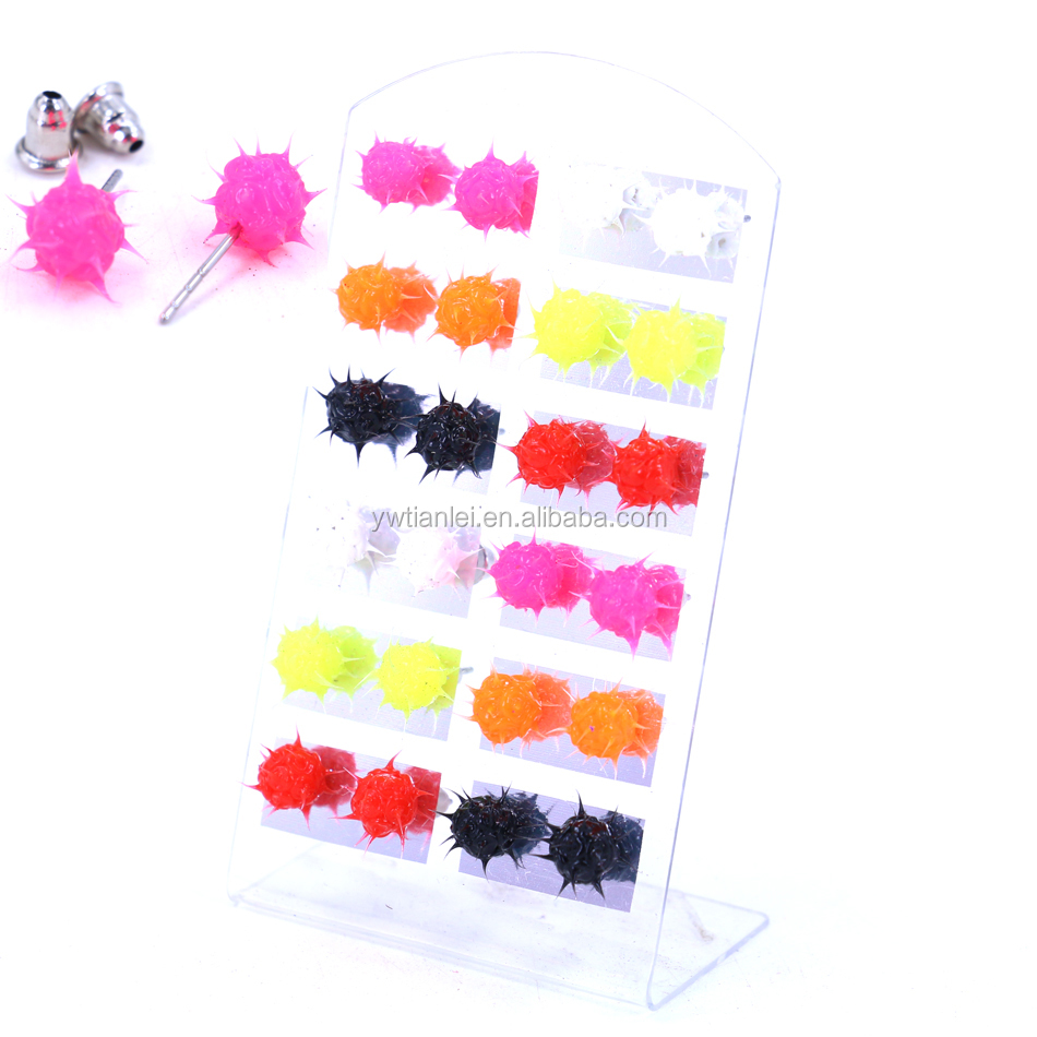 12pairs Set Mixed Colors Iron Needle Man Made Silicone Ball fashion earring designs new model earrings