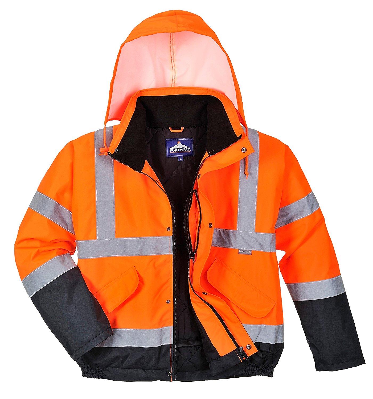 Mens Waterproof 2 Tone Bomber Jacket Hi Vis Visibility Work Wear Hi Vis Standard