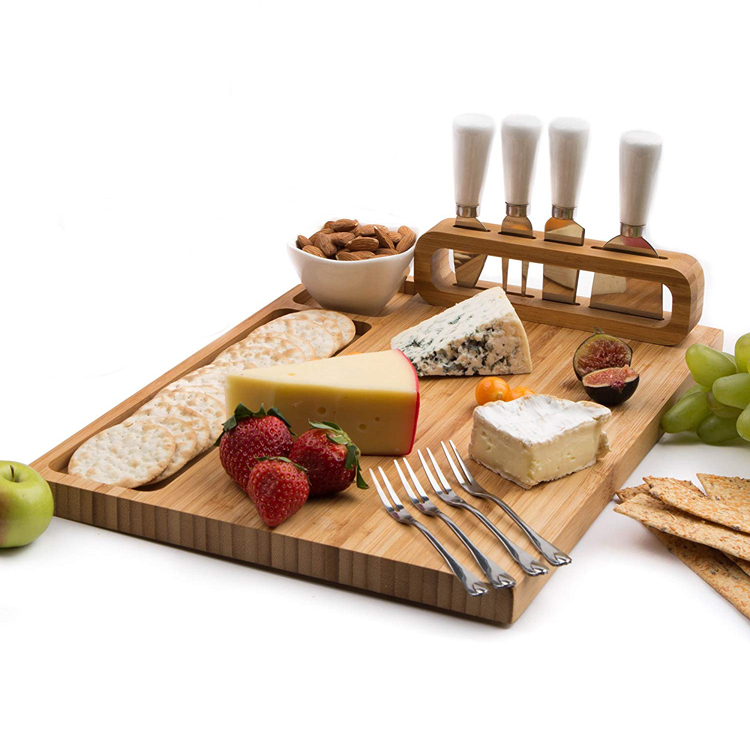 Bamboo Cheese Board Charcuterie Tray Set