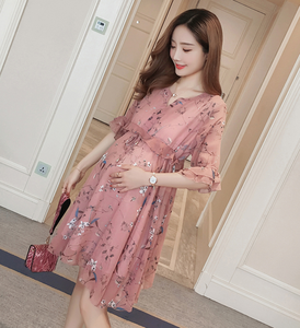 2018 new style fashion summer long skirt floral chiffon short dress