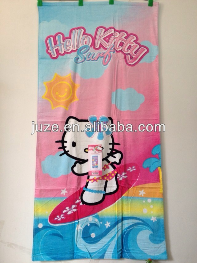 Hello Kitty hot verkoop gedrukt velours strandlaken