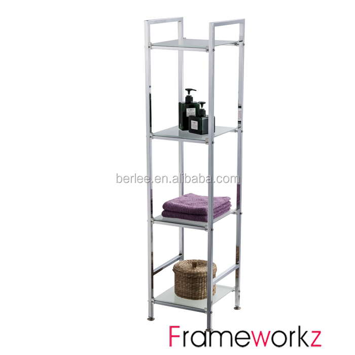 4 tier square chrome tube glass shelving wire chrome. Black Bedroom Furniture Sets. Home Design Ideas