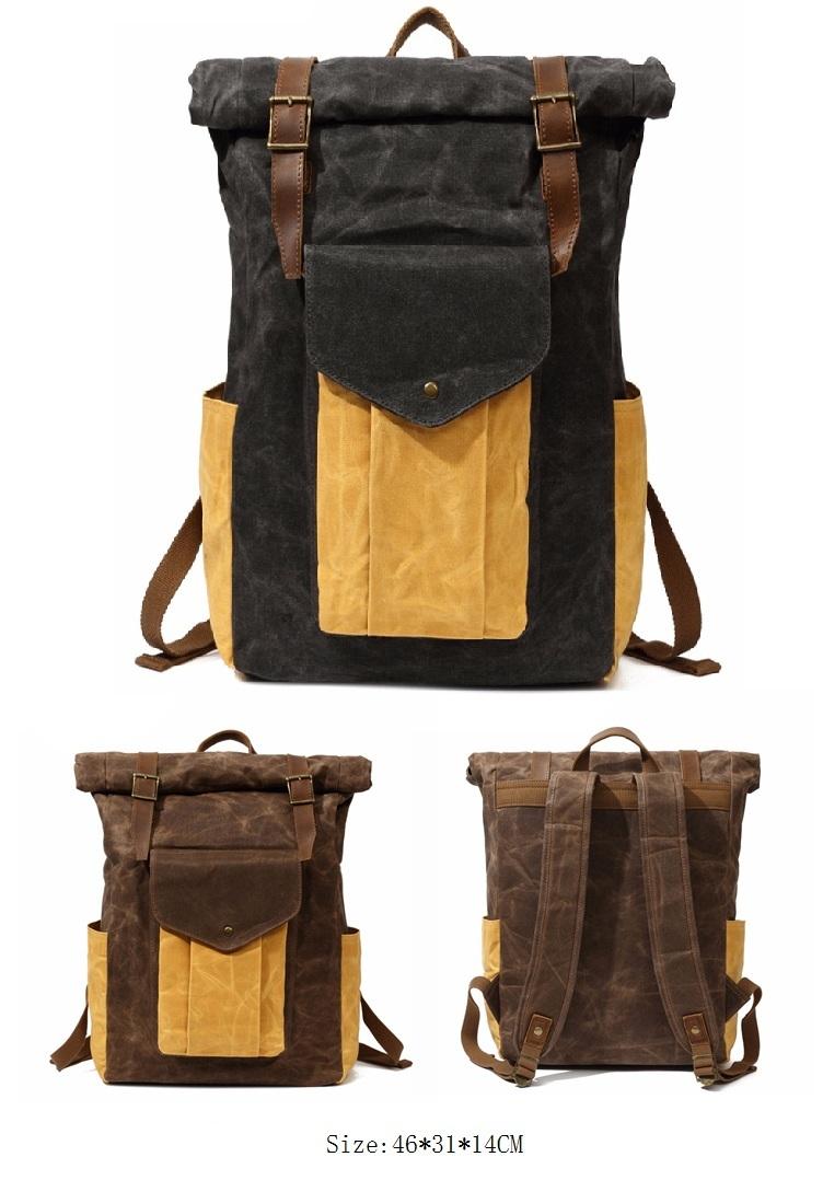 Popular design brand teenager waterproof waxed canvas high school rucksack laptop backpack back pack satchel bag