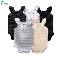 5PCS/LOT Infants & Toddlers Top Quality Baby Rompers Sleeveless Cotton 0-24M Newborn Girls soft Baby Clothes