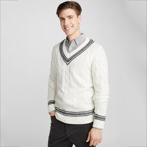 a569c5e7765c TENGYU Wholesale Classic Mens V Neck Cable Knit Varsity Sweater