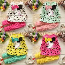Kids Baby Girls Cute Minnie Mouse Dress Dot Tops Pants Clothes 2pcs Outfits set