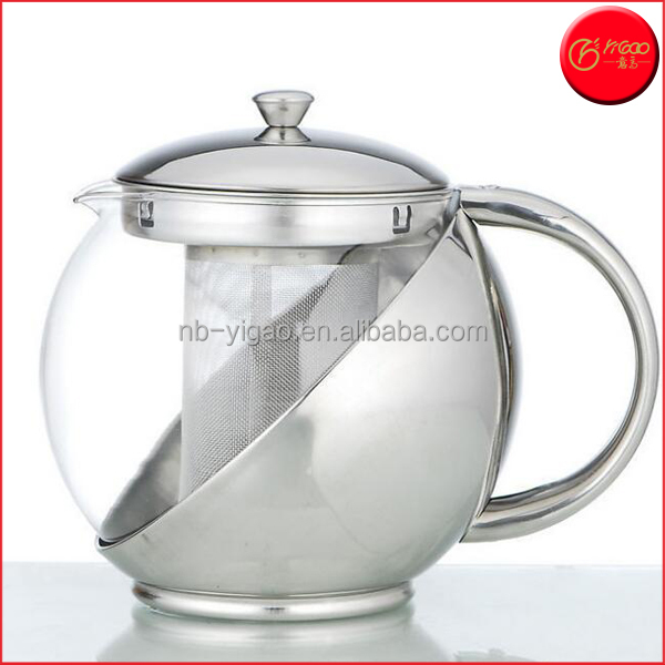 1100ml streamlined design Borosilicate Glass Tea Pot With Stainless Steel Infuser Tea Pitcher Teapot