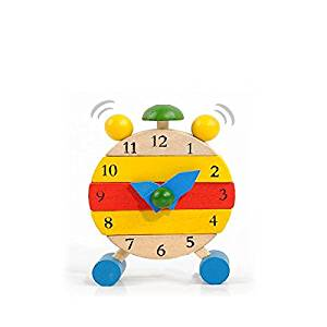 Baby Wooden Learn Time Clock Educational Developmental Disassembly Toy