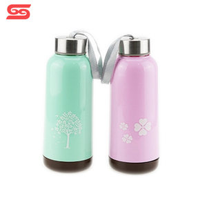Portable sport drinking water glass bottle with lids