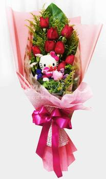 Fresh Flower Hand Bouquet With Toy