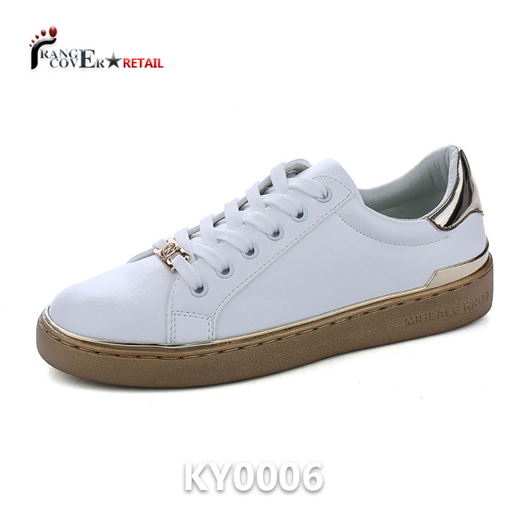 Brand Design Casual Sneakers White Lady PU Lace Up Shoes
