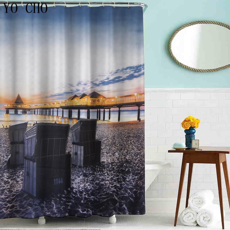 barato al por mayor casa glassland mar escnico cortinas de ducha popular estilo moderno d cortinas