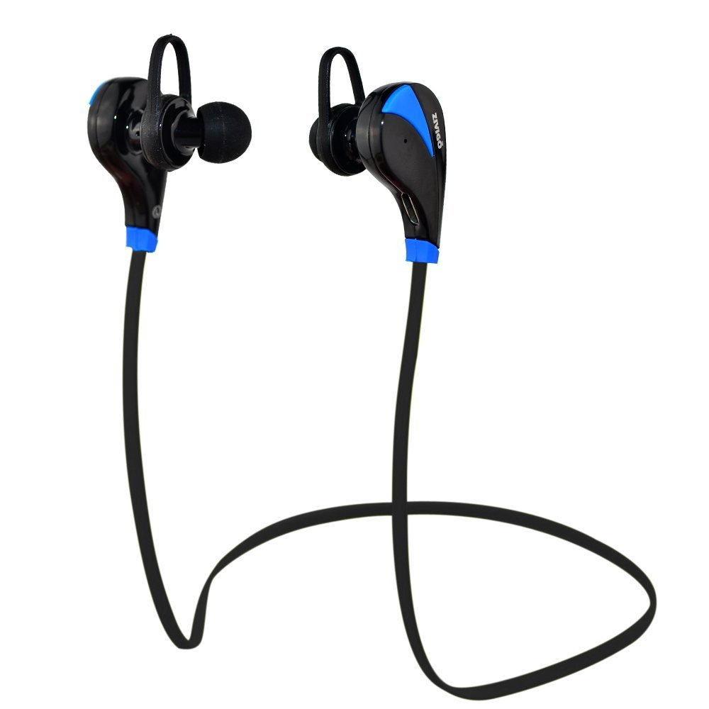 Bluetooth Headphones By Zivigo® Lightweight Wireless Bluetooth Earbuds, bluetooth sport headphones, Bluetooth Earbuds For Running, Bluetooth 4.0 with Aptx, Premium Sweat Proof Earbuds with Built in Microphone, (Black/Blue)