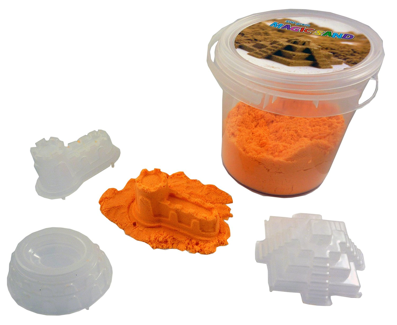 ORANGE Magic Sand 500g With 3 Castle Moulds- Sculpture, Mould and Play [Toy]