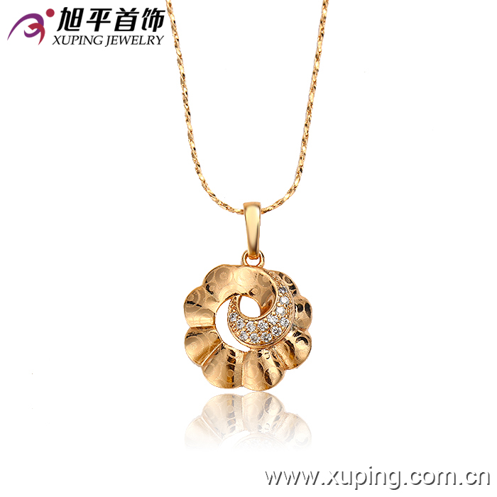 32052 Xuping new arrival top grade imitation jewelry elegant flower shaped gold pendant with free lead and nickel