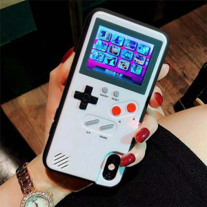 Colour Display Tetris Game Boy Phone Case Color Screen Gameboy Chargeable Cover For Iphone X 6 6s 7 8 Plus XS Max XR