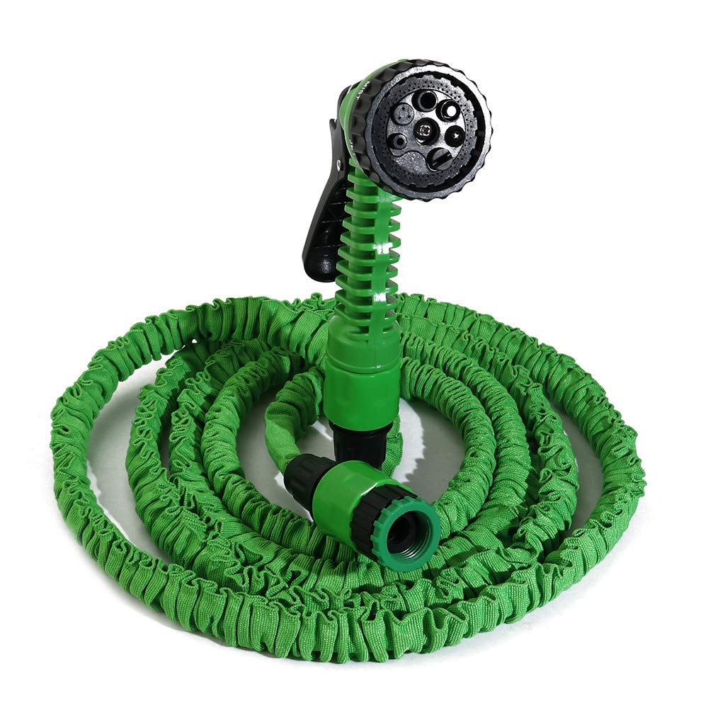 """boeray Heavy Duty 25 Ft Garden Hose, Expandable Magic Flexible Green Water Hose, Suitable for Car Wash, Cleaning, Watering Lawn and Garden, 7-Pattern Spray Nozzle and 1/2"""" Fitting Included"""