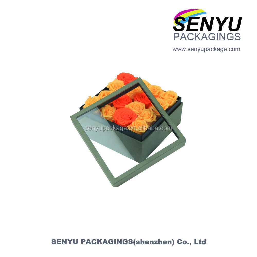 Whoelsale lid and base cardboard flowers boxes with a clear pvc window
