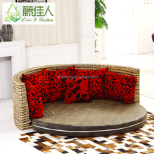 Half Circle Water Hyacinth Natural Rattan Leather Round Sofa Cum Bed