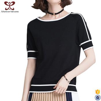 e973bfedaef 2107 Latest Crocheting Black t shirts Round Neck Joker Women Striped t shirt