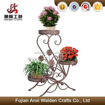 3 Tier Scroll Clic Plant Stand Decorative Metal Garden Patio Flower Pot Rack Display Shelf