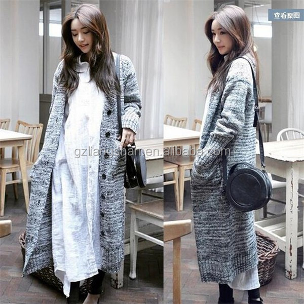 Korean fashion style long cardigans women 2015 knitted women coat cashmere grey warm winter alpaca sweater