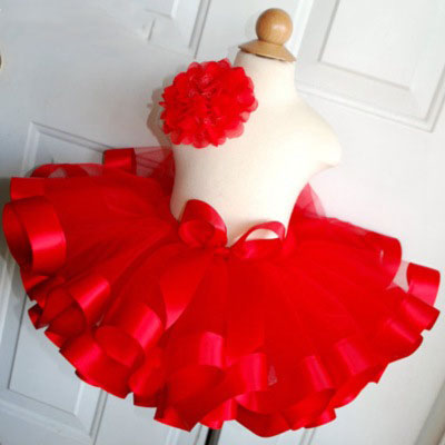 Christmas tulle tutu skirt for girls Santa tutu skirt with ribbon