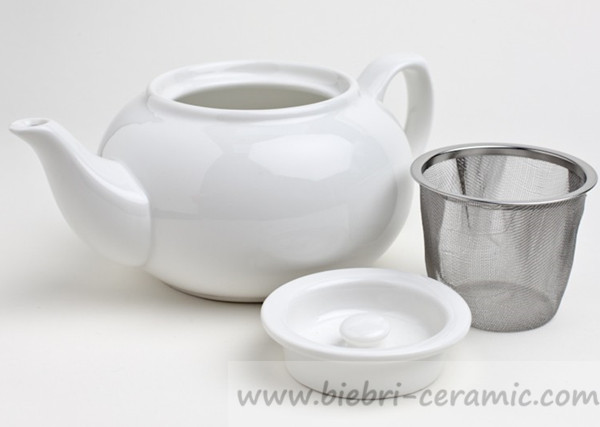 750ml Plain White Porcelain Teapot With Infuser For Hotel Restaurant Etc