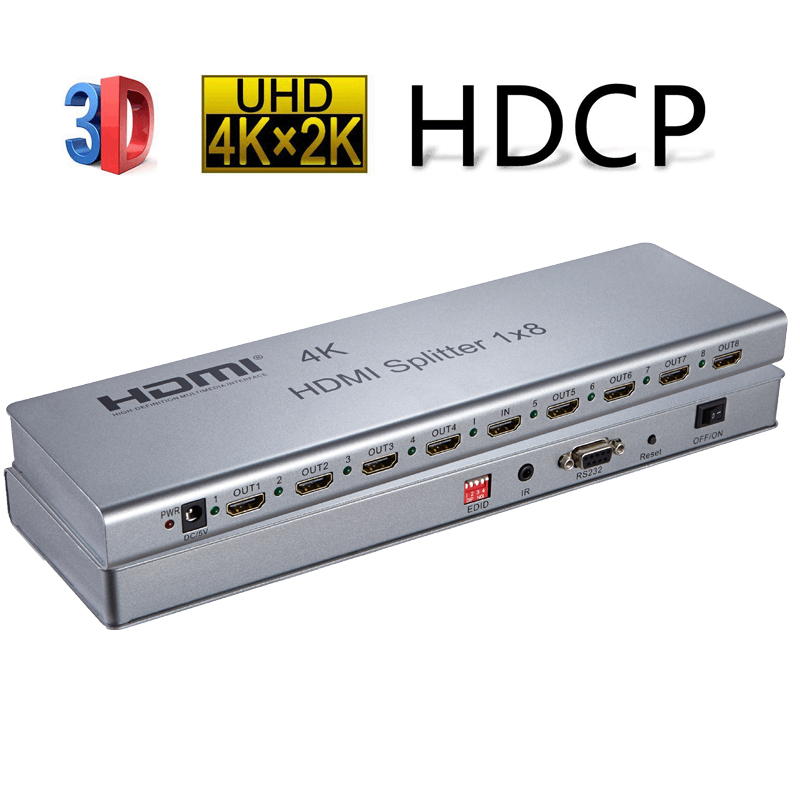 3D 4K 2160P 1X8 HDMI 1.4 Splitter 1 In 8 Out Support IR Extension EDID Mangement RS232 HDCP2.2