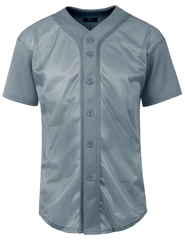e4d333ff NE PEOPLE Mens Plain Short Sleeve Button Down Active Mesh Baseball Jersey