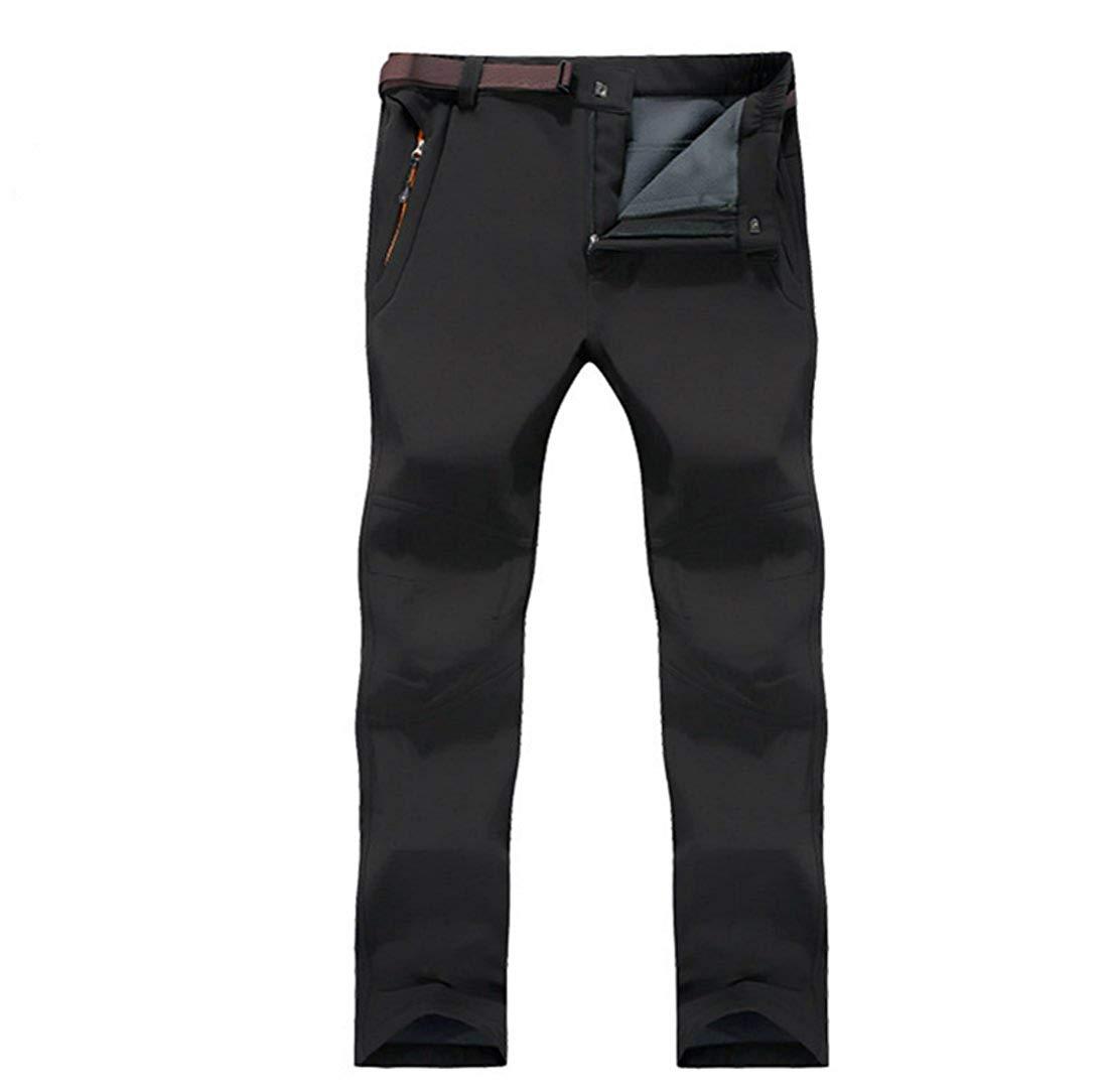 Climb&Pear Men's Outdoor Waterproof Windproof Mountain Fleece Ski Pants (Black, 30 (Tag Large))