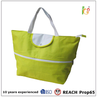 OEM design handbag with polyester fabric for ladies