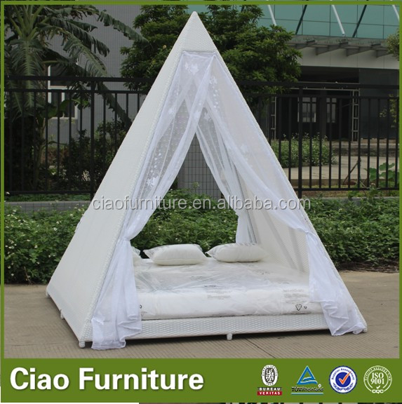 Outdoor wicker daybed with flower weaving canopy(CF901L)