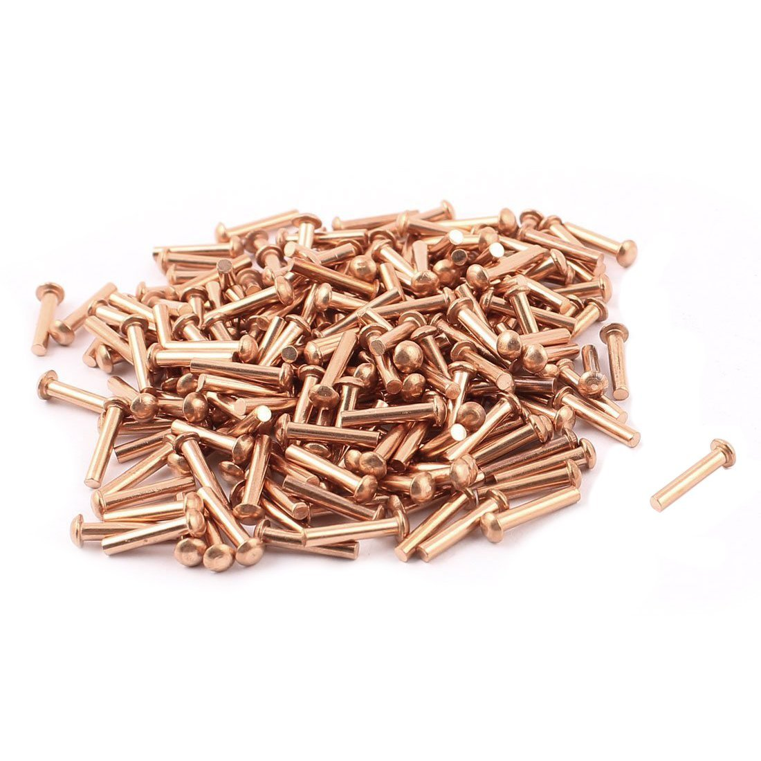SODIAL(R) 100 Pcs 5/64inch x 25/64inch Round Head Copper Solid Rivets Fasteners