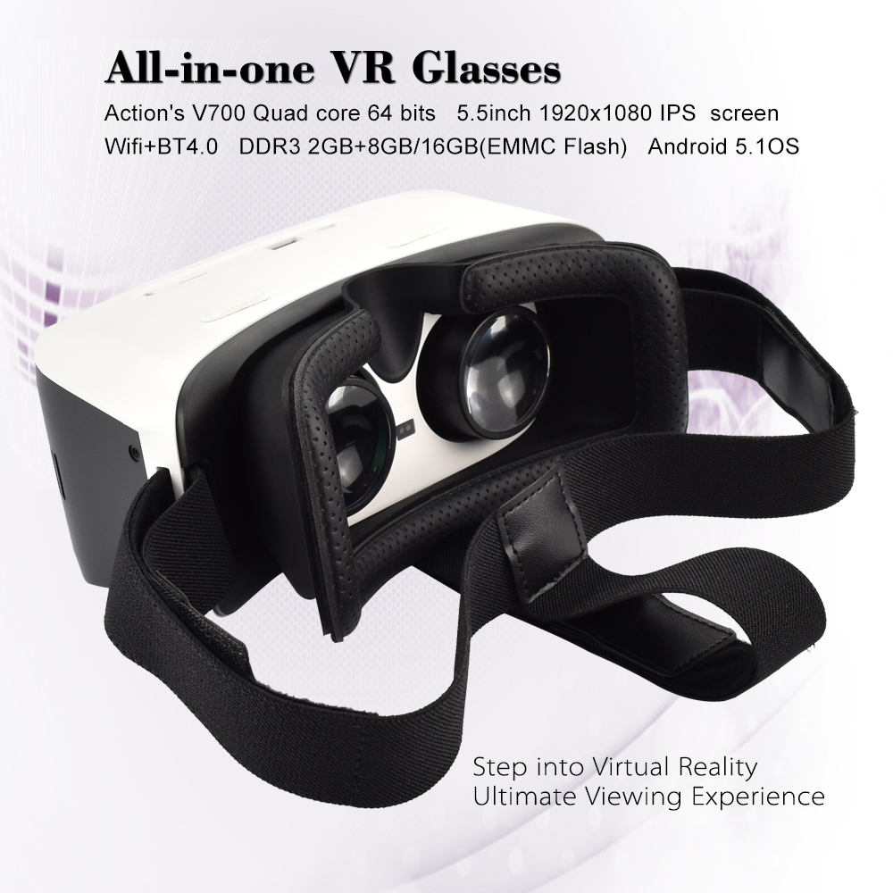 Factory direct selling HD display all in one VR Glasses Virtual Reality system with WIFI BT