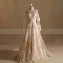 Generous A-line Long Sleeve Shinny Net Lace Evening Dress With Chapel Train