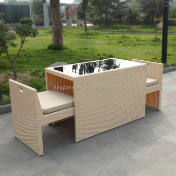 Home Garden Furniture Wicker Rattan Table Chairs Set Space Saving Garden Table and Chairs & Home Garden Furniture Wicker Rattan Table Chairs Set Space Saving ...