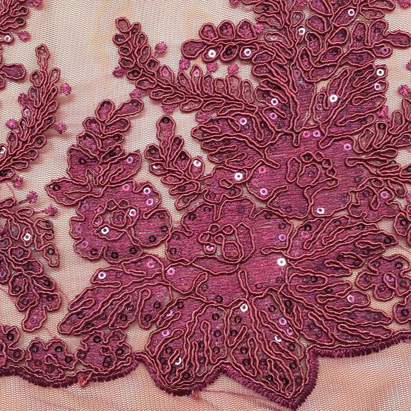 china French Net Lace fabric sequin embroidery tulle cord lace fabric