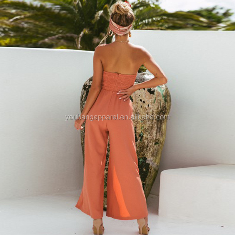 2019 new arrival fashionable sexy women off shoulder hot chiffon long pants woman jumpsuits