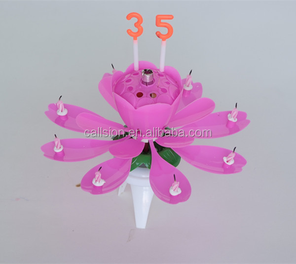 Music flowering open magic amazing number birthday candles for cakes
