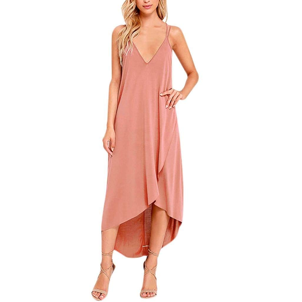 2018 New Women's Sling Irregular Beach Dress, Balakie Ladies Summer Boho V-neck Solid Color Long Maxi Evening Party Dresses (M, Pink)