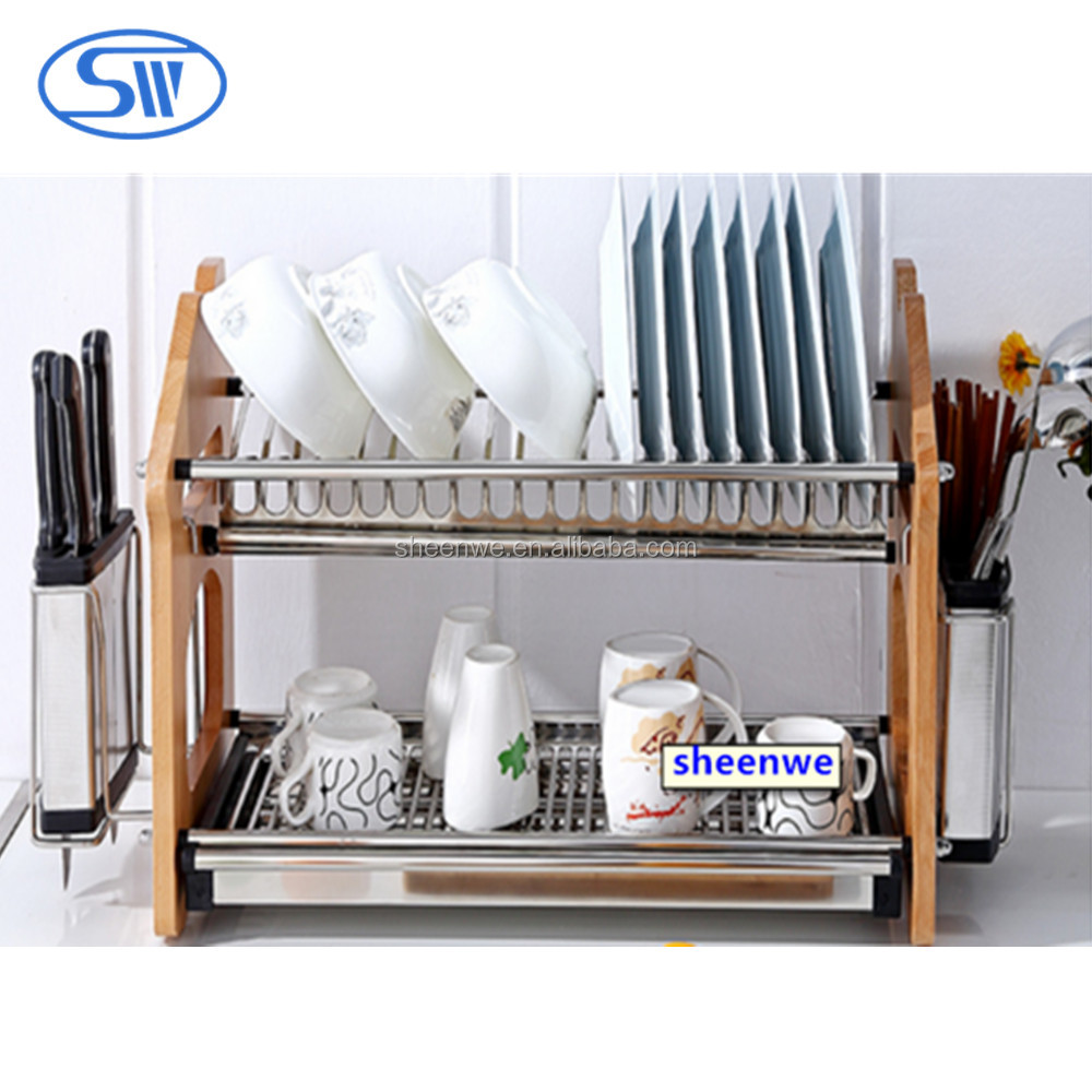 Sheenwe New stainless steel kitchen dish rack plate rack dish storage 2 tier dish drying rack wooden