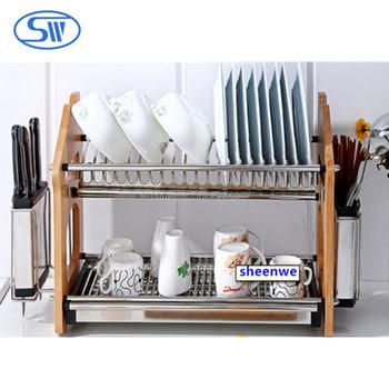 Sheenwe New Stainless Steel Kitchen Dish Rack Plate Rack Dish Storage 2  Tier Dish Drying Rack