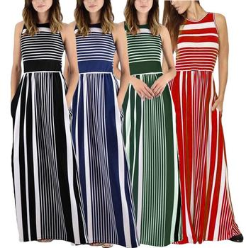 913a92e02f Urban Casual Lady Western Party Wear Dresses Sleeveless Striped Maxi Dress  With Knee-length